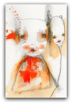 Original Painting, Abstract Portrait Acrylic, Watercolor and Simple Embroidery by Christina Romeo......selvage    This listing is for one Original