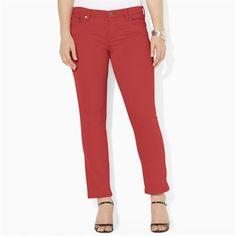 Lauren Ralph Lauren Plus Size Slimming Modern Straight Jean #VonMaur #LaurenRalphLauren #Red #StraightLeg