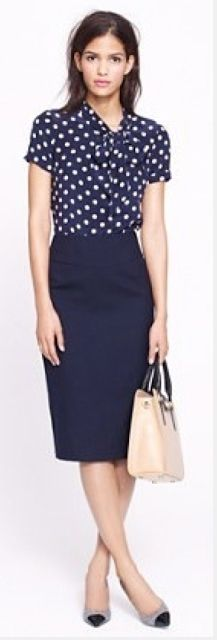 Outfit Posts: outfit post: polka-dot tie neck blouse, navy pencil skirt, burgundy heels