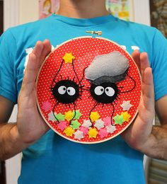 Soot Sprite Embroidery by loveandasandwich, via Flickr