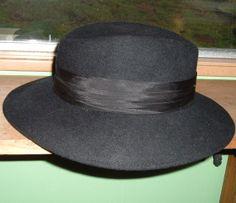Lovely Black Wool Felt Women's Hat Satin Band Fedora by artbrawl, $12.00