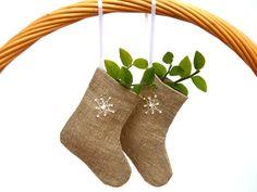 Christmas ornament - Mini burlap stockings - set of 3.