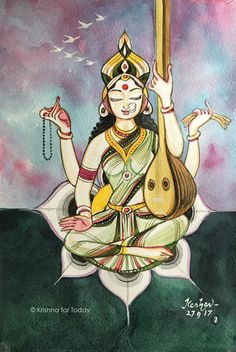 Krishna for Today Madhubani Art, Madhubani Painting, Saraswati Painting, Bengali Art, Indian Art Paintings, Abstract Paintings, Oil Paintings, Krishna Art, Shiva Art