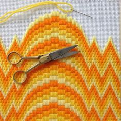 Bargello is a and style of needlepoint marked by repeating patterns, zig-zag designs, and bold colors. You'll learn bargello basics on an square. Broderie Bargello, Bargello Needlepoint, Bargello Quilts, Needlepoint Stitches, Needlepoint Canvases, Needlework, Cross Stitch Bookmarks, Cross Stitch Embroidery, Cross Stitch Kits