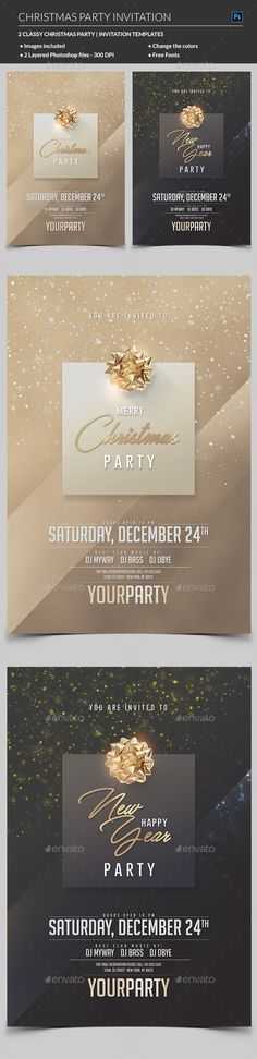 Christmas Party Invitation — Photoshop PSD #invitation #winter • Available here → https://graphicriver.net/item/christmas-party-invitation/19085140?ref=pxcr