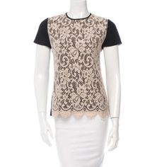Jason Wu lace top SZ small Nude lace front silk sleeves modal black backamazing piece Jason Wu Tops Blouses