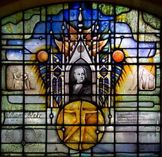 William Blake window, designed by John Hayward, from St. Mary's Battersea Old Church, London, England - the church in which Blake was married to Catherine Boucher in 1782.