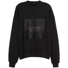 Women's Alexander Wang Label Patch Sweatshirt (550 PAB) ❤ liked on Polyvore featuring tops, hoodies, sweatshirts, black, oversized sweatshirts, oversized crew neck sweatshirt, crew neck tops, oversized tops and crew top