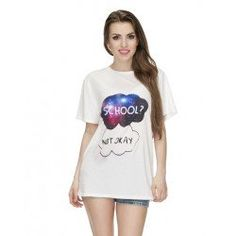 T-shirt oversize too cool for school biały