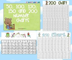 Number Charts 50, 100, 120, 150 and 200 - PDF file    5 page resource, designed by Clever Classroom.    5 different number charts to suit grades $