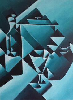 Modern abstract schilderij Stilleven 60x40x3