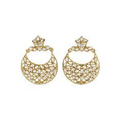 Golden Polki Earrings Sparkle, Unique, Bracelets, Earrings, Gold, Beauty, Jewelry, Fashion, Bangles