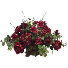 Faux rose and mum arrangement in a classic planter.      Product: Faux floral arrangement    Construction Material: