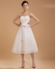 A-line Satin Ribbon Sweep Short Wedding Dress  Read More:     http://weddingsred.com/index.php?r=a-line-satin-ribbon-sweep-short-wedding-dress.html