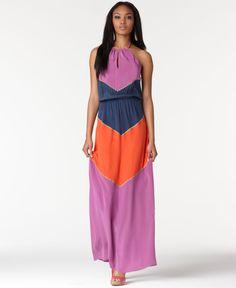 BCBG Colorblock Maxi Dress   eBay