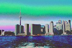 Cn Tower Toronto View From Centre Island Downtown Panorama Improvised With Graphic Artist Tools Pain