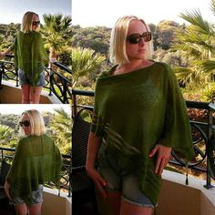 Check out this item in my Etsy shop https://www.etsy.com/uk/listing/468827319/womens-knit-green-linen-poncho-summer