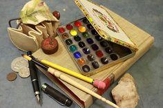 Watercolor Pocket Field Set in Vintage Cigar Tin, 28 Artist Grade Color Palette by GreenLeafBlueberry.