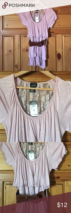 BRAND NEW top with belt  SUPER CUTE and new light pink top with beltvery soft and comfortable!100%rayon, 90%nylon, 10% spandex. Machine washable! It looks absolutely amazing on!OPEN TO NEGOTIATION! Thanks for looking  Rue 21 Tops Blouses
