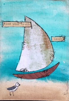 Mixed Media Original Whimsical Sailboat Painting on Canvas Board 5x7 105-0515 by JacquieLeavitt on Etsy