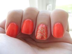 Bright orange nails, with glitter feature #nailart
