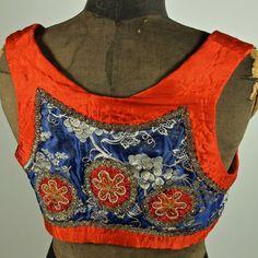 Czech Antique Moravian Red and Blue Brocade Folk Costume Cropped Bolero Vest Gypsy Silver Bouillon Trim by prettyinprague on Etsy