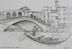 Pen and ink freehand drawing of the Ponte di Rialto across the Grand Canal in Venice by Dai Wynn. Drawn on 300gsm smooth Arches paper. 29.5 cm high by 42 cm wide by 0.1 cm deep approximately. A3 size. Unframed. Available for sale at $150   shipping/postage. 						        					. 			data-pin-do=