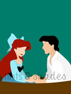 Ariel and Eric Minimalist Poster by TintsShadesFineArt on Etsy