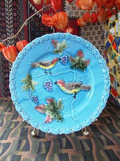 "Finally ready to part with this beauty! From my collection of Majolica Plates ...check out this Antique ""Zell"" Majolica Plate...bursting with Birds & Grapes!"
