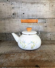 Teapot Mid Century White Enamel Teapot with Wood Handle and Knob Vintage Enamel Teapot White with Flowers Teapot Farmhouse Chic Tea Kettle by TheDustyOldShack on Etsy