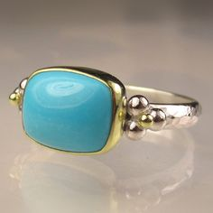 Sleeping Beauty Turquoise Ring - 18k Gold and Sterling Silver