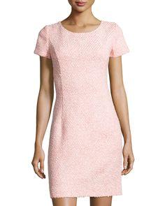 Oscar de la Renta Tweed Cap-Sleeve Sheath Dress, Petal, Women's, Size: 12