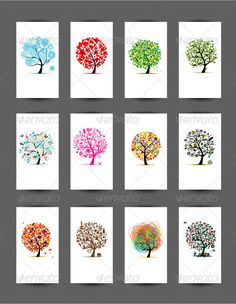 Cards With Trees Design. Season Holiday