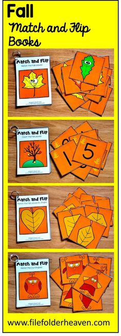 These Fall Matching Activities include 4 Fall Match and Flip Books that focus on basic matching skills and have a fall theme.  In these activities, students work on matching picture to picture, matching by counting, and matching by shape.  There are four Match and Flip Books included in this download.