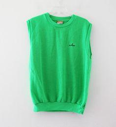 Vintage 80s neon green sweatshirt tshirt sleeveless tank