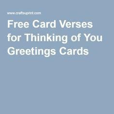 Free Card Verses for Thinking of You Greetings Cards