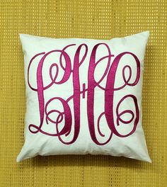 Monogram Pillow 30% OFF Sale ( Discount is applied to the original price.) ( Additional OFFER- we will ship all orders with DHL 3-4 day Express Shipping. If you purchase a total of $30 or above.)  HAND EMBROIDERED Monogram Decorative Throw Pillow Personalized Custom Made Letter Pillow, Valentine Gift, Great Housewarming or Dorm Decor or Wedding Anniversary Love or Father Mother Grandparents Baby Birthday Gift or just to celebrate a special occasion..  Please choose just the Pillow Cover to…
