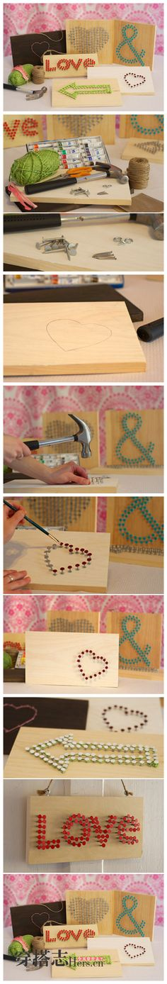 Painted Nail Wall Art, this is so cute!