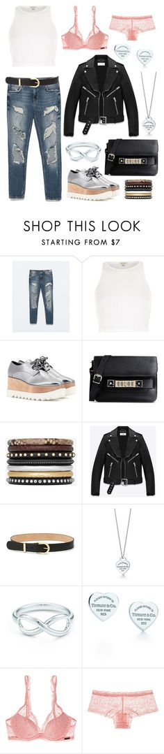 """Make the night to your day"" by monikakrummradt ❤ liked on Polyvore featuring Zara, River Island, STELLA McCARTNEY, Proenza Schouler, Yves Saint Laurent, Gucci, Tiffany & Co. and Calvin Klein Underwear"