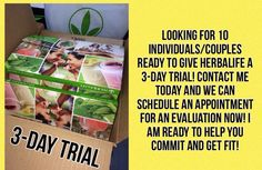 Are you ready to make a #lifestyle #change? Let me help you by giving our 3-day trial pack a change to show you what #herbalife can do for you. Taking appointments now for the #3daytrial and more! Please message me at jon_ang_carter@yahoo.com