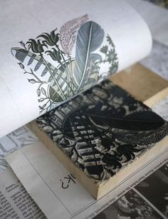 Angie Lewin prints her 'Alphabet and Feathers' wood engraving for the V&A Museum in London