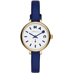 MARC by Marc Jacobs Sally Watch with Leather Strap (€155) ❤ liked on Polyvore featuring jewelry, watches, accessories, bracelets, blue, leather strap watches, marc by marc jacobs, blue watches, stainless steel jewelry and marc by marc jacobs watches