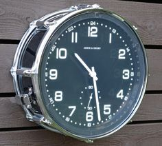 Repurposed Black Snare Drum  Clock by TimeBeats on Etsy, $175.00