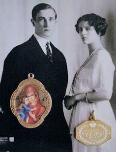Prince Felix Yusupov, his wife, the Princess Irina and pendants they wore. The pendant on the right is in gold and white enamel, and contains the Cyrillic initials of Princess Irina. By Marie Poutine's Jewels & Royals: Faberge Pendants and Necklaces