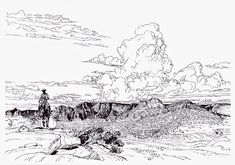 Blueberry by Moebius Manado, Moebius Art, Tracing Art, Western Landscape, Hr Giger, Jean Giraud, Bd Comics, Western Art, French Artists