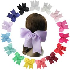 """15 Teen Baby Girl Large Grosgrain Ribbon Cheer Hair Bows Cheerleader Bow 6'' 8'' (Hair Clips Alligator 8 inch). Baby Girls Hair Clips;Toddlers Hair Bows Bulk;6 Inch or 8 Inch Large Cheer Bows for Teen Girls or Women; Elastic Hair Bands Ponytail Holders. Big Cheer Hair Bows 8 In are Made By 3"""" Grosgrain Ribbon; Attached with 5cm Clips. Big Cheer Hair Bows 6 In are Made By 2'' Grosgrain Ribbon; Attached with 5cm Clips. 15 colors are available to match your girl's outfit from left to..."""
