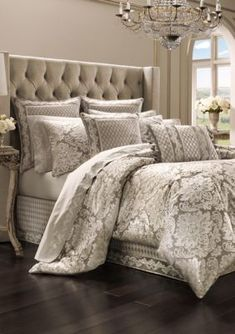 J Queen New York Bel Air Sand King Comforter Set Bedding master bedroom Bedding Master Bedroom, Master Bedroom Design, Bedroom Decor, Master Suite, Bedroom Ideas, Bedroom Designs, Bedroom Furniture, Gold Bedding, Purple Bedding