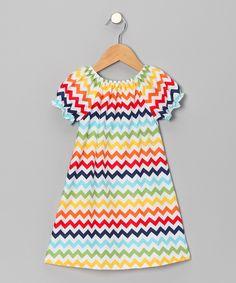 White & Rainbow Chevron Dress - Toddler & Girls