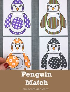 Penguin match for color recognition and visual discrimination skills.  I've included twelve colors and sixteen patterns.