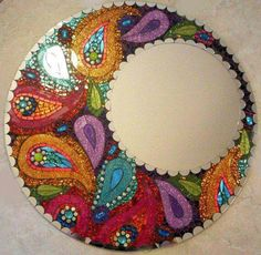 Original Paisley Moon Colorful Handmade Glass Mosaic Mirror by spoiledrockin Stained Glass Mirror, Mirror Mosaic, Mosaic Art, Mosaic Glass, Mosaic Tiles, Mosaic Madness, Mosaic Crafts, Mosaic Projects, Mosaic Designs